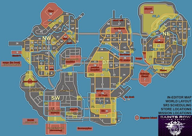 Saints Row The Third, World Building Lead - Jonathan T ... on saints row 5 map, the sims 1 map, assassin's creed 1 map, saints row map only, dark souls 1 map, guild wars 1 map, driver 1 map, gta 4 map, gta 1 map, dragon quest 1 map, portal 1 map, uncharted 1 map, gta san andreas map, risen 1 map, saints row hell map, saints row iv map, just cause 1 map, skyrim map, saints row cd map, resident evil 1 map,