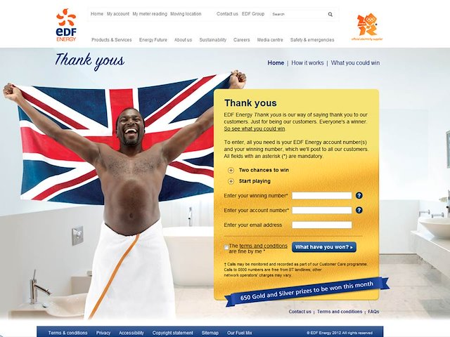 Offers thank yous edf energy prizes and awards