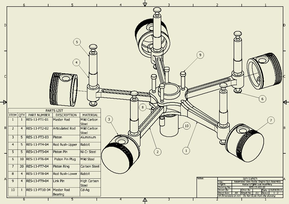 Radial Engine Piston Assembly