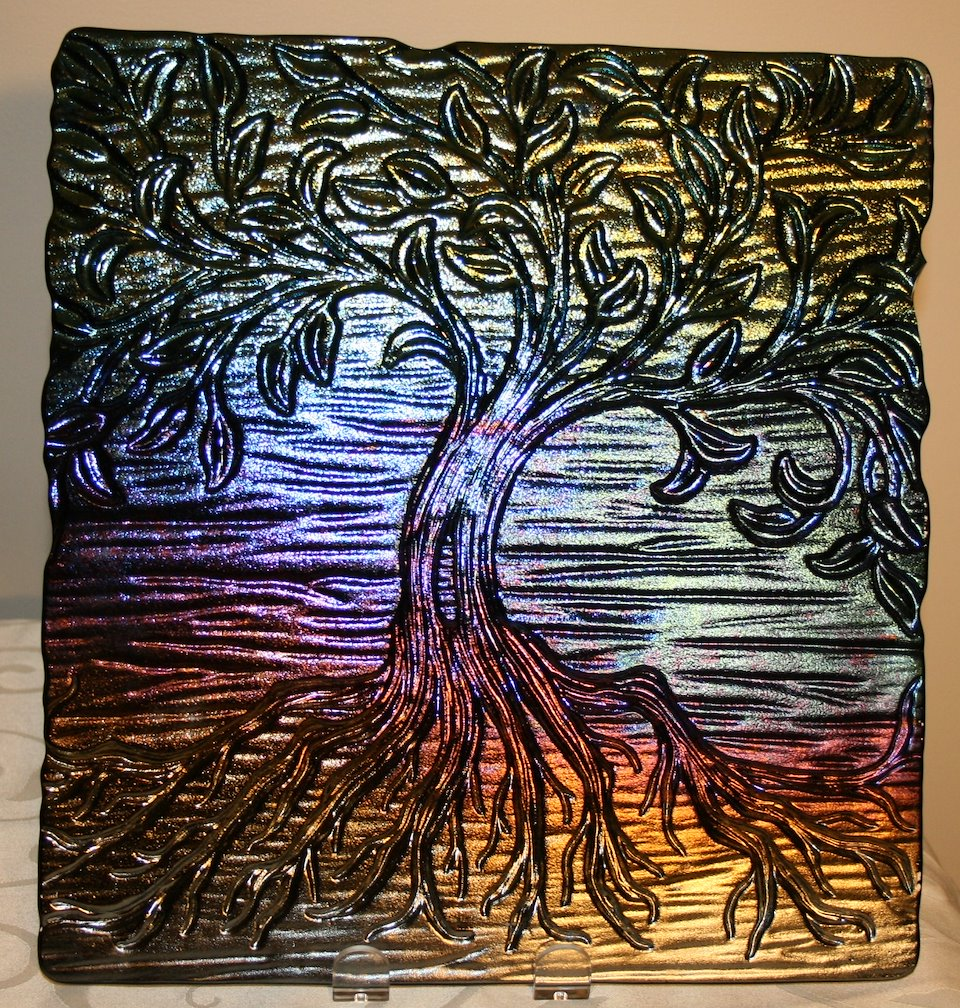 Tree Of Life Platter, Black Rainbow Iridescent Glass, 12 X 12 Inches, Food  Safe, $89