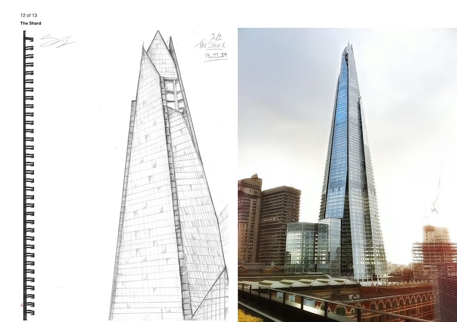 fine art drawing of the shard