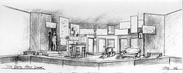 door pencil drawing artist who draw the boys next door theatre of western springs 06 pencil sketch thad hallstein scenic design technical direction sketches