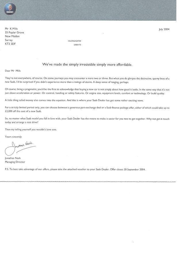 Kevin Mills Sales Letters