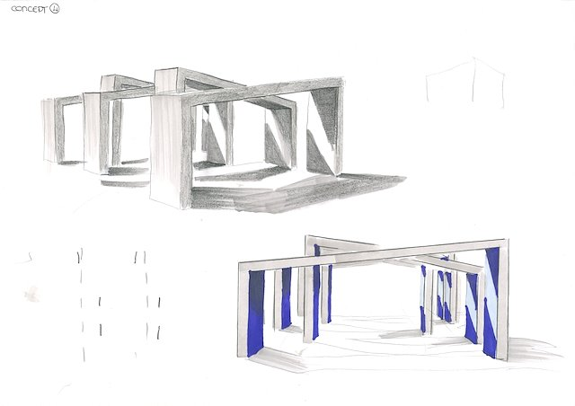 Exhibition Stand Sketch : Design for an exhibition stand for ascot gas water heaters ltd